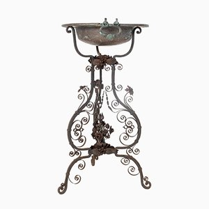 Antique Wrought Iron and Copper Plant Stand