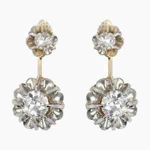 19th-Century French Diamond 18 Karat Yellow Gold Platinum Dangle Earrings