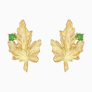 Emerald 18 Karat Yellow Gold Vine Leaves Earrings, 1960s