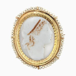 19th-Century Natural Pearl Cameo Yellow Gold Brooch