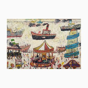 Simeon Stafford, Fun Fair on the Harbour Wall, Figurative Oil Painting, 2003