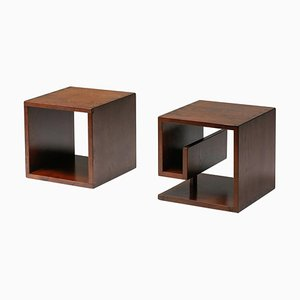 Italian Stained Oak Cubic Side Tables 1970s, Set of 2