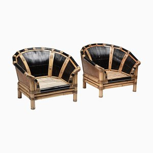 Black Natural Bamboo and Cane Lounge Chairs, Italy, 1970s, Set of 2