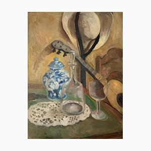 Benjamin II Vautier, Nature morte à la guitare et au chapeau, 1935