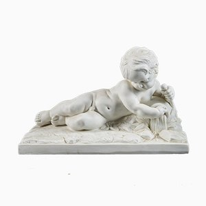 19th C, Neo-Baroque Style, Manner of François Duquesnoy (Brussels, 1597 – Livorno, 1643), Sculpture of a Lying Putto