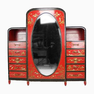 Asian-Inspired Art Deco Lacquered Wardrobe, France, 1925