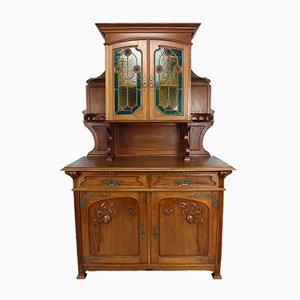 Antique Art Nouveau Carved Mahogany & Stained Glass Cabinet, France, 1900s