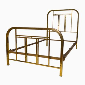 French Art Deco Brass Bed, 1920s