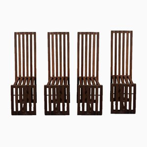Italian High-Back Pine Chairs by Lella & Massimo Vignelli for Driade, 1974, Set of 4