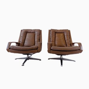 Brown Leather Chairs from Carl Straub, 1960s, Set of 2