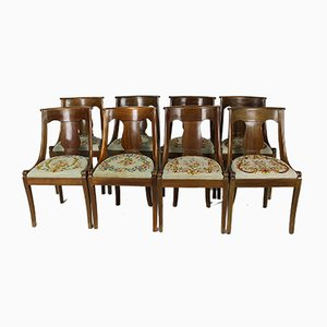 Restoration Style Dining Chairs in Mahogany, France, 19th Century, Set of 8