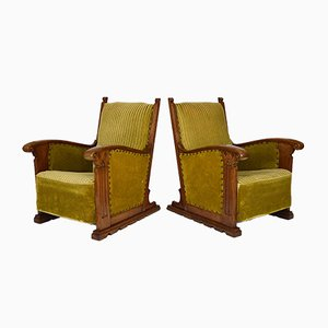 Gothic Club Armchairs in Carved Oak, France, 1900s, Set of 2
