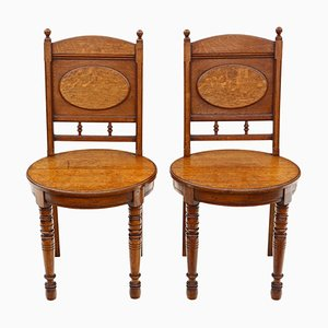 Oak Hall or Bedroom Chairs, 1880s, Set of 2