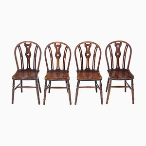 Elm and Beech Kitchen Dining Chairs, 1900s, Set of 4