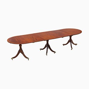 Extending Triple Pedestal Dining Table in Mahogany, 19th Century