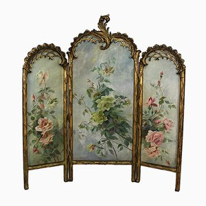 Belle Epoque Folding Screen in Gilded Carved Wood with Naturalist Paintings, 1880s