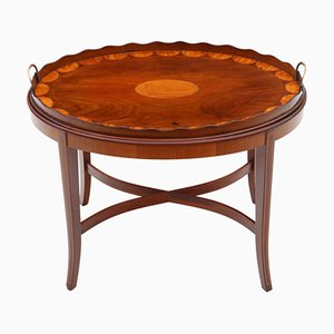 Edwardian Mahogany and Satin Walnut Side or Coffee Table with Tray on Stand, 1900s