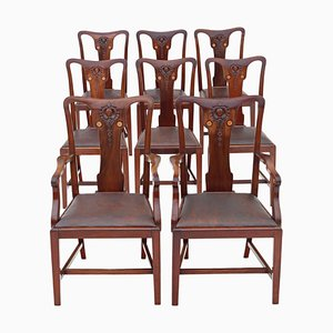 Art Nouveau Inlaid Mahogany Dining Chairs, 1910s, Set of 8