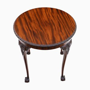 Carved Mahogany Circular Side or Center Table, 1910s