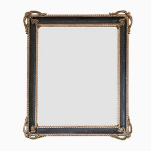Large Gilt and Black Overmantle or Wall Mirror, 19th Century