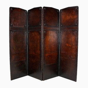 Antique 4 Panels Folding Screen in Patinated Leather, 1900s