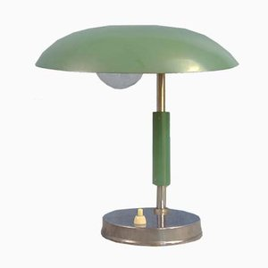 Small Bauhaus Style Green Desk Lamp, 1930s or 1940s