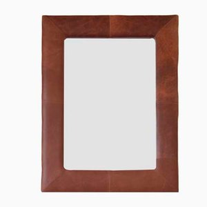 Large Brown Leather Overmantle or Wall Mirror from Hoste Arms, Burnham Market