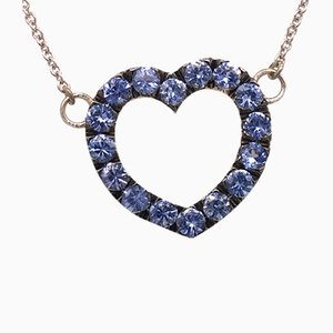 Blue Sapphire & White Gold Heart Necklace from Berca