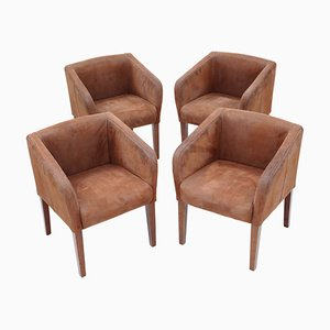 Vintage Brown Suede Leather Armchairs, Set of 4