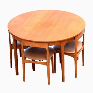 Vintage Scandinavian Table & Chairs, Set of 5