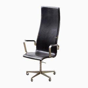 Oxford Leather Desk Chair by Arne Jacobsen for Fritz Hansen, 1965