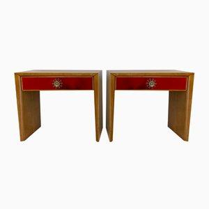 Italian Art Deco Red Parchment & Maple Nightstands, 1950s, Set of 2