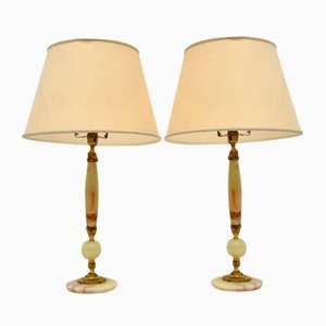 Antique French Onyx Table Lamps, Set of 2