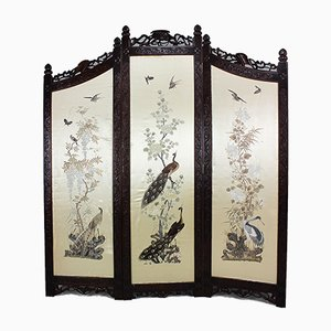 Asian Folding Screen in Carved Wood and Handmade Tapestry, 1900s