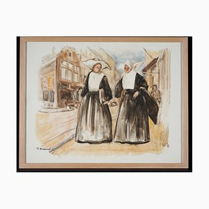 Lucien Desmaré, Street View with Two Nuns of ST. Vincentius a Paolo