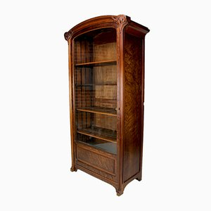 Art Nouveau Walnut & Burl Showcase Cabinet, 1900s
