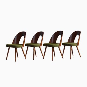 Mid-Century Green Boucle Dining Chairs by A. Šuman for Kvadrat, Set of 4