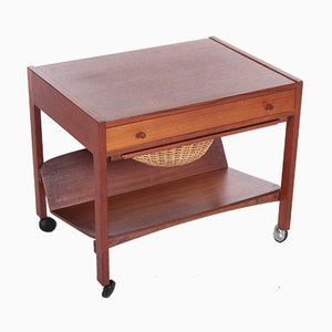 Danish Teak Side Table and Sewing Box, 1960s