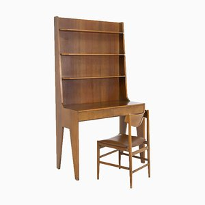 Italian Wooden Desk With Chair, Set of 2