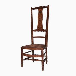 Antique Dutch Oak High Back Chair, 1920s