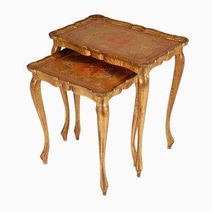 Mid-Century Italian Florentine Carved Giltwood Nesting Tables, Set of 2