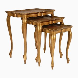 Mid-Century Italian Florentine Carved Giltwood Nesting Tables, Set of 3