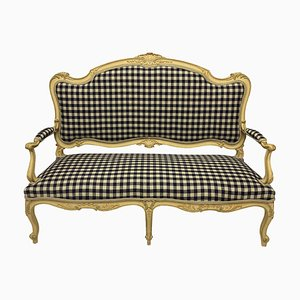 Louis XV Style Painted Sofa in Gingham Linen
