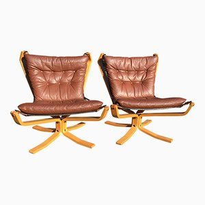 Tan Low Falcon Chairs by Sigurd Ressell, Set of 2