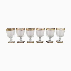 White Wine Glasses in Mouth-Blown Art Glass from Nason & Moretti, 1930s, Set of 6