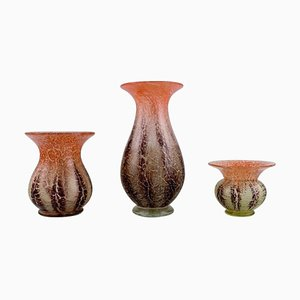 Ikora Vases in Mouth Blown Art Glass from Karl Wiedmann for Wmf, 1930s, Set of 3