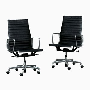 Model Ea119 Aluminum Office Chair in Black Leather from Herman Miller, USA