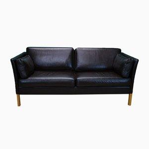Mid-Century Danish 2.5-Seater Sofa in Dark Brown Leather by Erik Jorgensen
