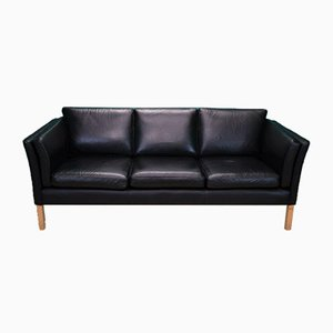 Mid-Century Danish Black Leather 3-Seater Sofa in the style of Stouby, 1970s