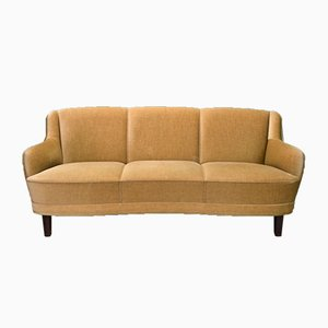Mid-Century Danish Velour 3-Seater Curved Sofa, 1950s